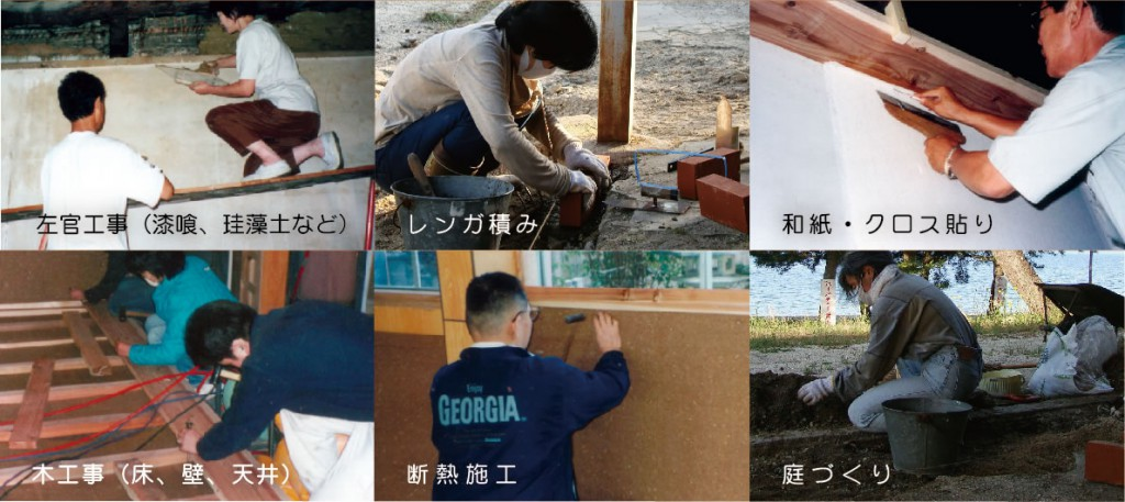 エコリフォーム・ワークショップ 内容説明写真 :左官工事(漆喰、珪藻土など)、レンガ積み、和紙・クロス張り、木工事(床、壁、天井)、断熱施工、庭づくり