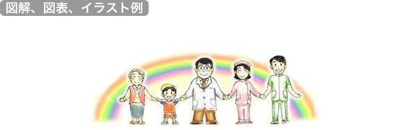 サンプル画像:図解、図表、イラスト作成(医療・QOL・地域コミュニティ)