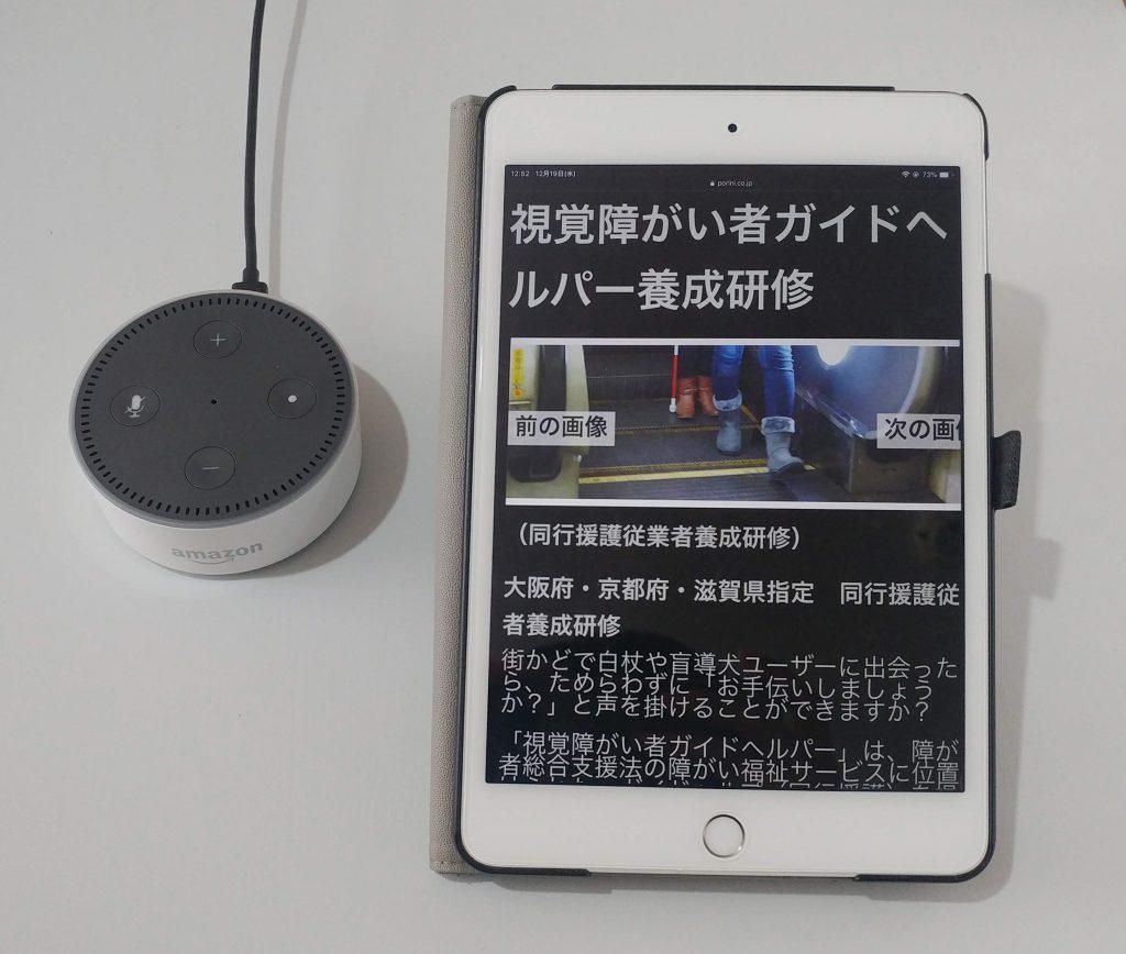 iPad とスマートスピーカーの写真(視覚に障害がある人のICT活用事例】